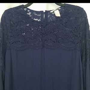 H&M Navy Lace Embellished Blouse Large